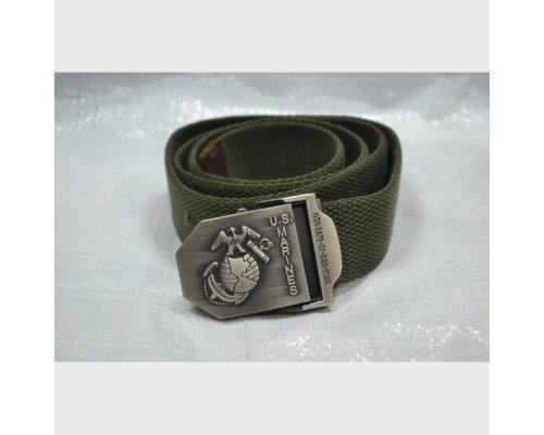 Ремень US хаки металлическая пряжка герб ВМФ 130см нов